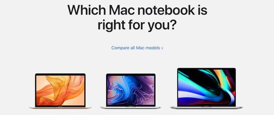 Compare Apple Mac Notebooks