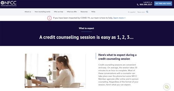 Screenshot of NFCC Website
