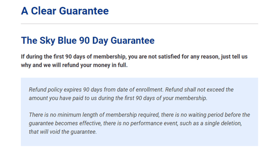 Screenshot of Sky Blue Credit Repair's 90-Day Guarantee