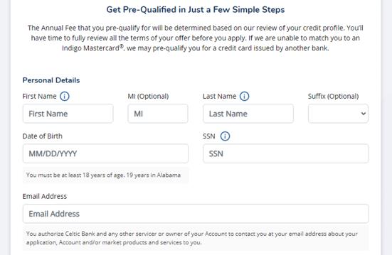 Screenshot of the Indigo Mastercard Prequalification Form