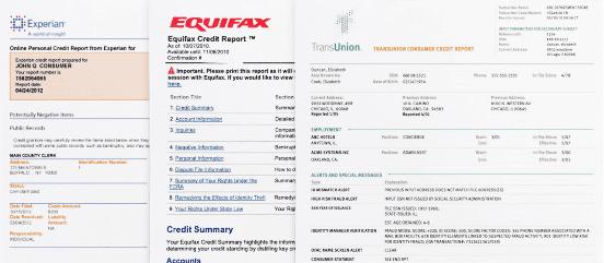 Screenshot of Three Credit Reports