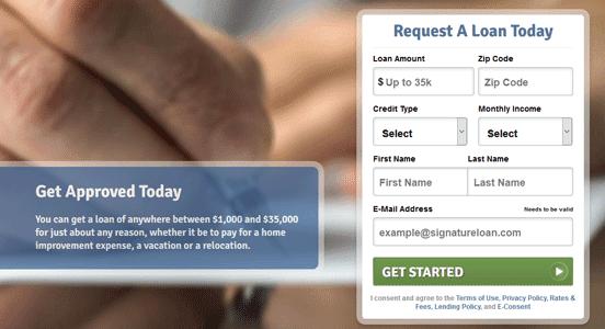 Screenshot of Signature Loans Signup