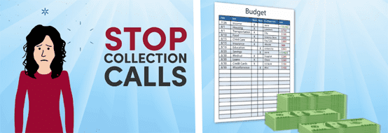 Cartoon collage of a person upset about collection calls and a budget spreadsheet