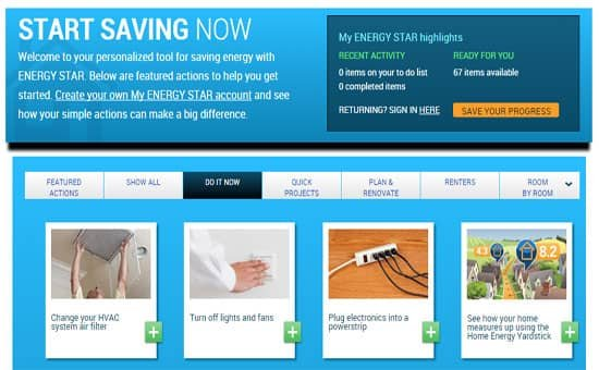 Screenshot of Energystar website.