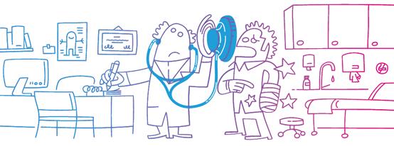 Cartoon depicting doctor and patient