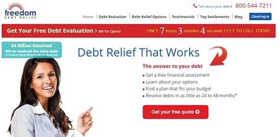 Screenshot of Freedom Debt Relief