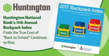 """Huntington National Bank's 11th Annual Backpack Index Finds the True Cost of """"Back to School"""" Continues to Rise"""