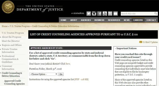 US Justice Department's counseling agency search page