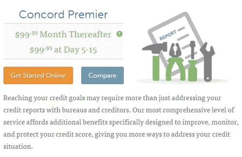 Screenshot of Lexington Law's Concord Premier Credit Repair Plan.