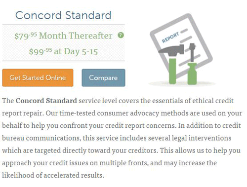 Screenshot of Lexington Law's Concord Standard plan.