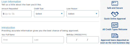 Screenshot of Bad Credit Loans application