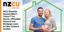 NZCU Baywide Named Editor's Choice™ for Secure, Affordable Personal and Mortgage Loans for New Zealand Families