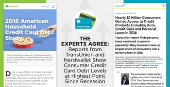 Reports from TransUnion and Nerdwallet Show Consumer Credit Card Debt Levels at Highest Point Since Recession