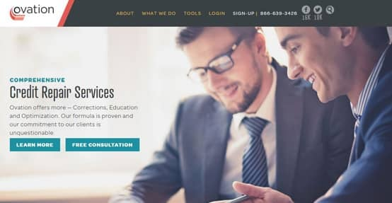 Ovation's homepage show its credit repair services.