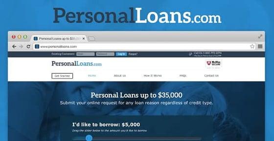 PersonalLoans.com homepage