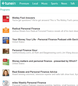 TuneIn Personal Finance Search Screenshot