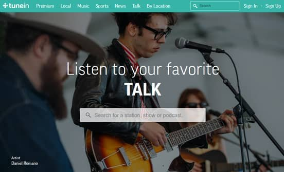 Screenshot of TuneIn Homepage
