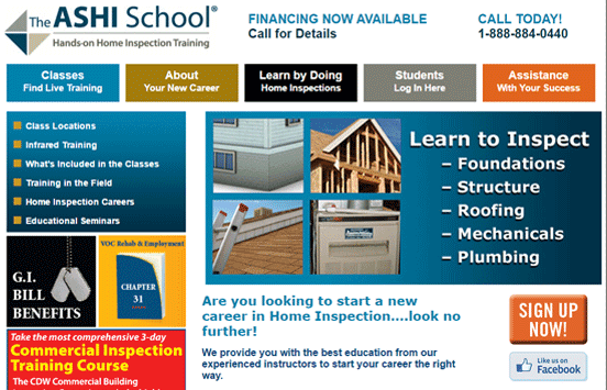 Screenshot of the The ASHI School homepage