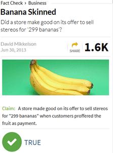 screenshot of snopes article, banana skinned