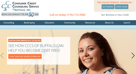 Screenshot of the Consumer Credit Counseling Service of Buffalo Inc. homepage