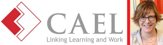 Collage of the CAEL Logo and a Portrait of Beth Doyle, Marketing Director of CAEL