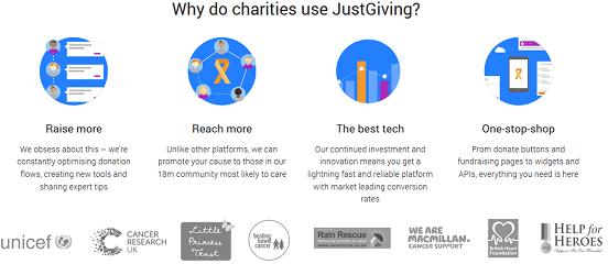 Screenshot of JustGiving Charities Page