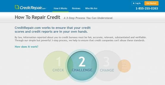 Screenshot of CreditRepair.com's