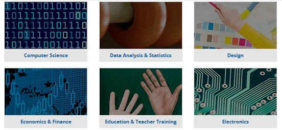 Screenshot of edX Course Subjects