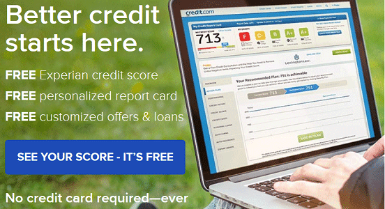 Screenshot of Credit.com Homepage