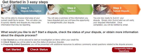 Screenshot of Equifax Online Dispute Page