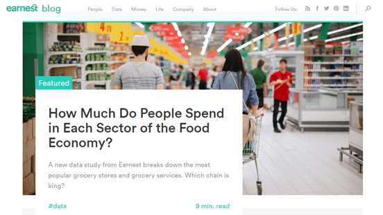 Screenshot of the Earnest blog page
