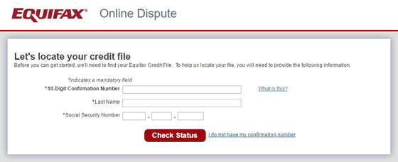 Screenshot of Online Dispute Status