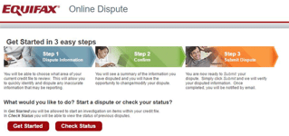 Screenshot of Equifax online dispute page