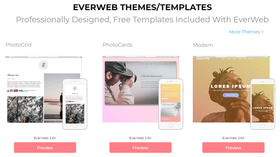 Screenshot from the EverWeb Templates Page