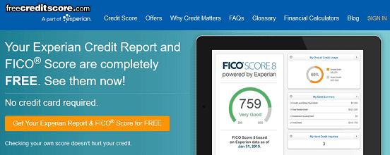 Screenshot of FreeCreditReport.com Homepage