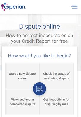 Screenshot of Experian Online DIspute