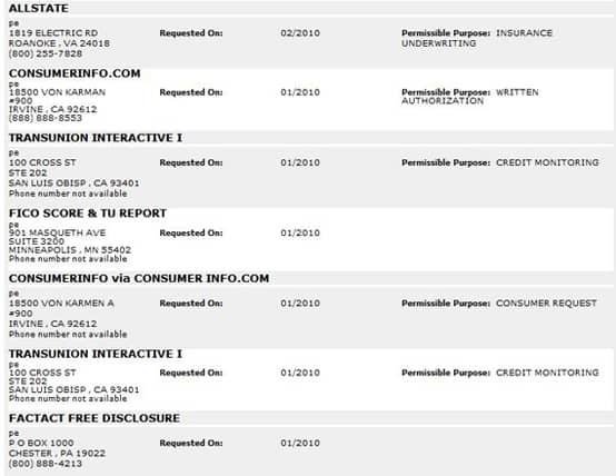 Screenshot of a TransUnion credit report