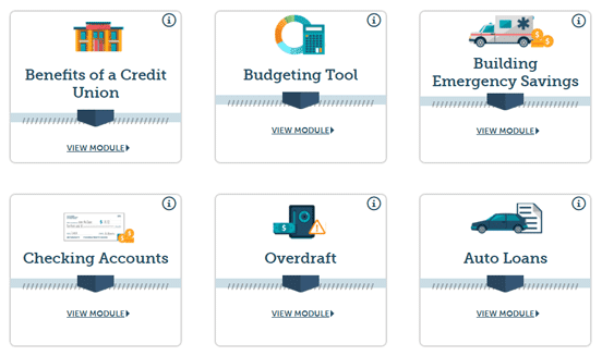 Screenshot of modules available through Financialocity