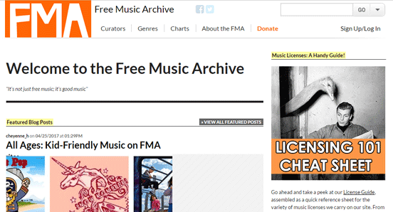 Screenshot of the Free Music Archive homepage