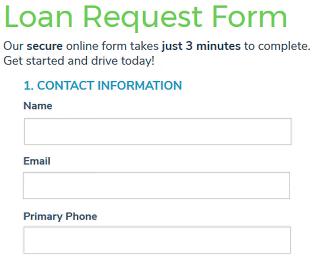 Screenshot of Auto Loan Application