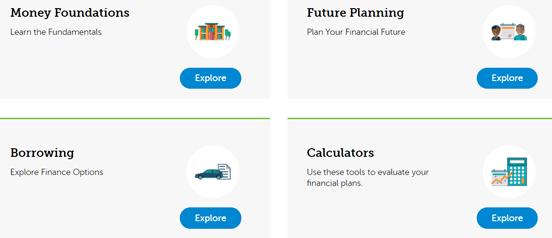 Screenshot of the GTE Elevate Financial Wellness Program