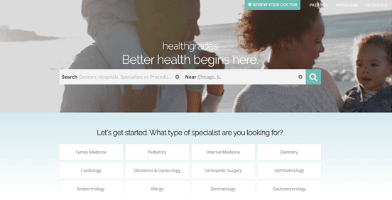 Screenshot of the Healthgrades homepage
