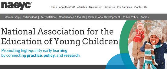 Screenshot of NAEYC Homepage