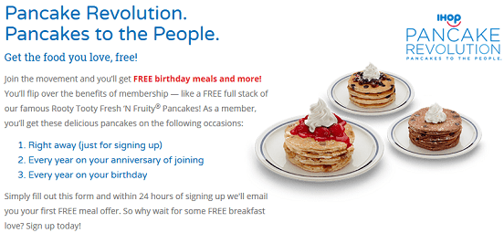 Screenshot of IHOP Offer Featured on TheFreeSIte