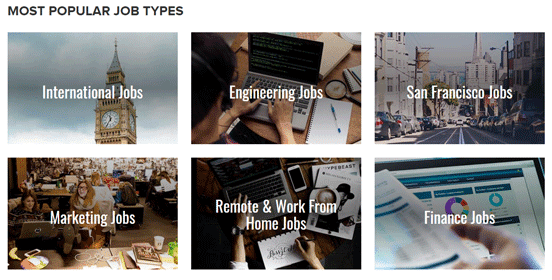 Screenshot of Popular Job Types on The Muse