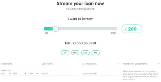 Screenshot of a Lending Stream Application