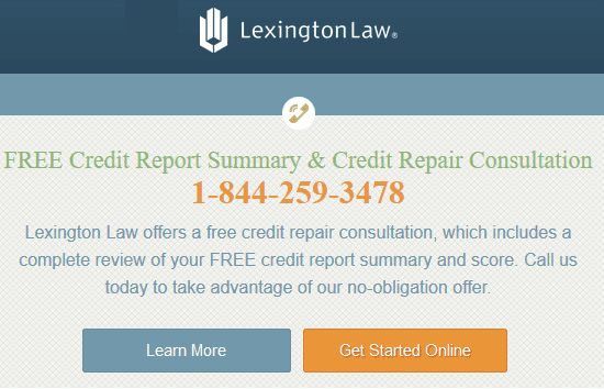 Screenshot of Lexington Law Homepage