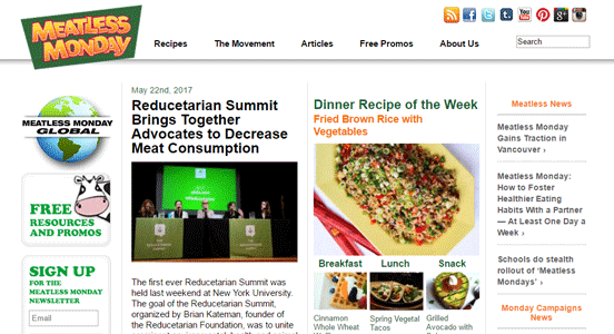 Screenshot from the Meatless Monday homepage