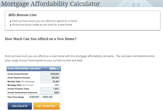 Screenshot of the Mortgage Affordability Calculator