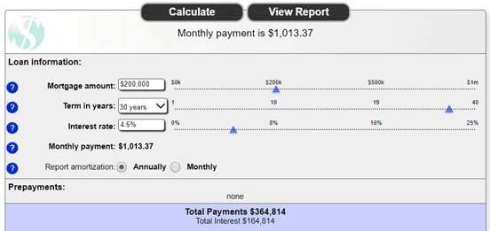 Screenshot from Sharonview's Mortgage Calculator